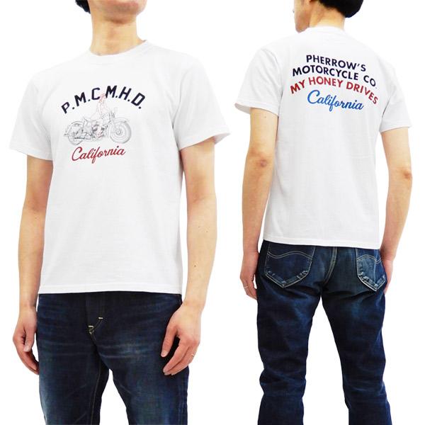 フェローズ 18s-pt20 tシャツ バイク柄 pherrow's pherrows メンズ 半袖tee