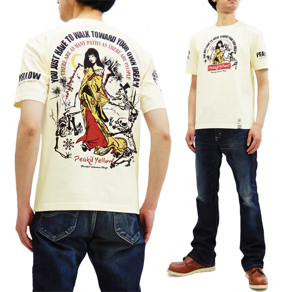 ピークドイエロー tシャツ pyt-214 観音姉御 peak'd yellow peaked yellow エフ商会 メンズ 半袖tee 新品 Peak'd Yellow Men's Japanese Kimono Women Graphic T-shirt Short Sleeve Peaked Yellow PYT-214