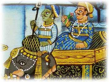 細い筆一本で描き上げるインド伝統の細密画・ラジャスタン州ウダイプールの制作です。額装済みなのでそのまま飾れます。青を基調にマハラジャが城に帰還する風景が描かれています。