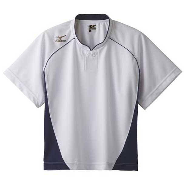 グローバルエリート ベースボールシャツ/ハーフボタン/小衿 レディース 14ホワイト×ネイビー MIZUNO ミズノ 野球 ウエア ユニフォームシャツ 12JC6L70 12jc6l7014 野球ウエア