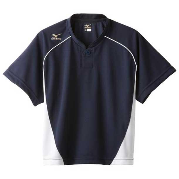 グローバルエリート ベースボールシャツ/ハーフボタン/小衿 レディース 74ネイビー×ホワイト MIZUNO ミズノ 野球 ウエア ユニフォームシャツ 12JC6L70 12jc6l7074 野球ウエア