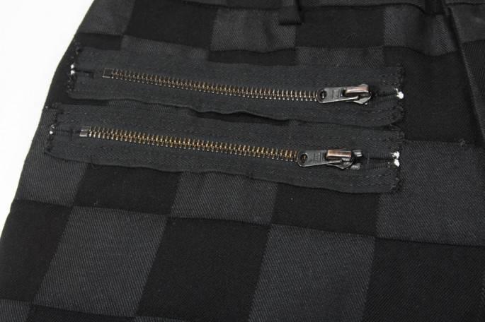 ナンバーナインNUMBER (N)INE ririジップパッチワークデザインパンツ3黒