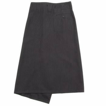 ワイズY's ストライプジップウールスカート 黒1