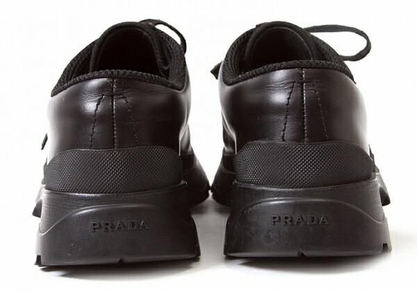 プラダ PRADA ビブラムモカレザーシューズ 黒7.5