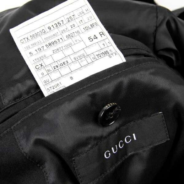 グッチGUCCI  コットンピークドラペルジャケット 黒52