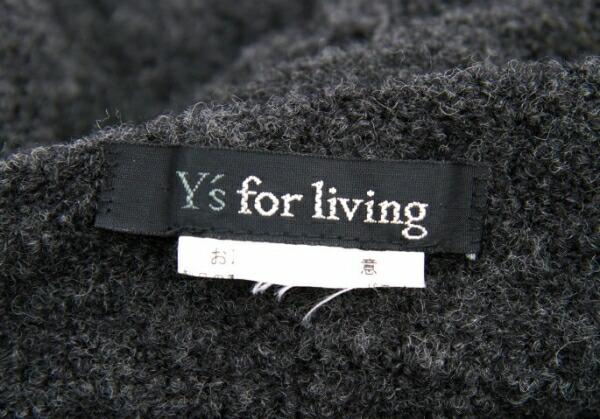 ワイズフォーリビングY's for living フードデザインボーダーマフラー グレー黒