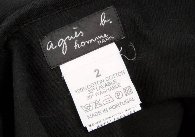 アニエスベー オムagnes b. homme ビーズ貼り付けロゴTシャツ 黒2
