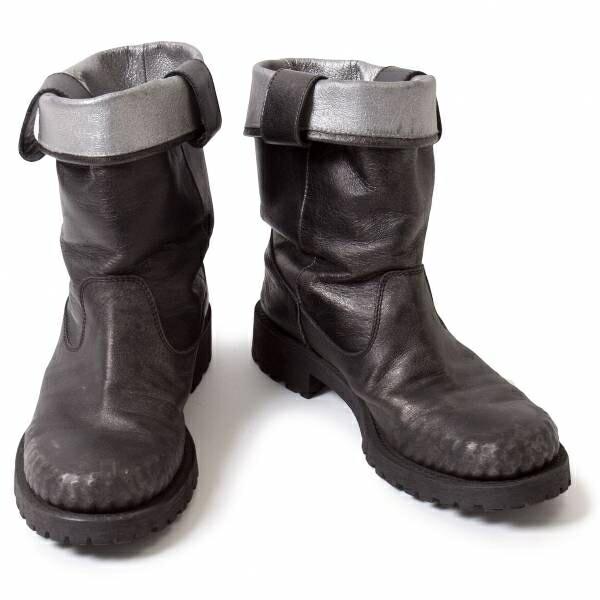 リミフゥLIMIfeu 光沢配色むら染め革ショートブーツ 黒グレーL(24位)