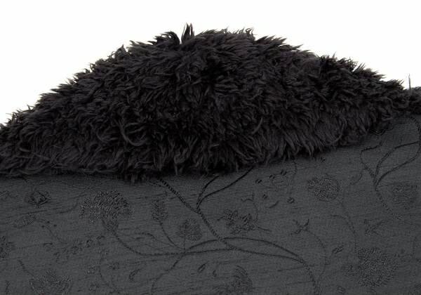 イッセイミヤケISSEY MIYAKE ファー切替ショート丈ジャガードジャケット 黒2