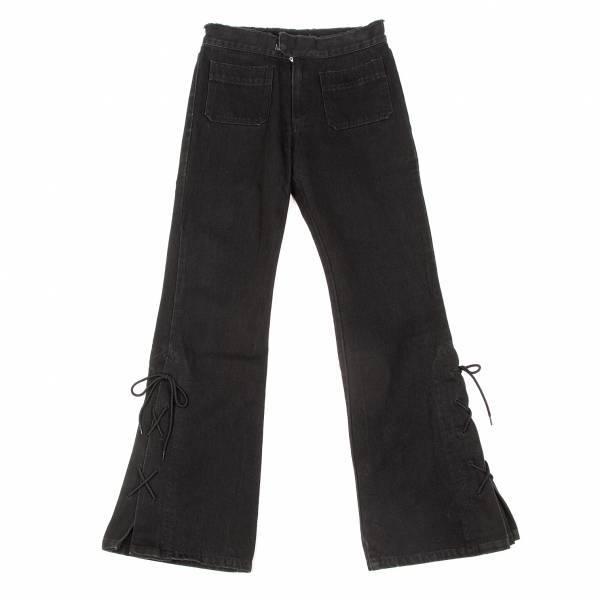 ジャンポールゴルチエファムJean Paul GAULTIER FEMME 裾レースアップブーツカットジーンズ 黒40