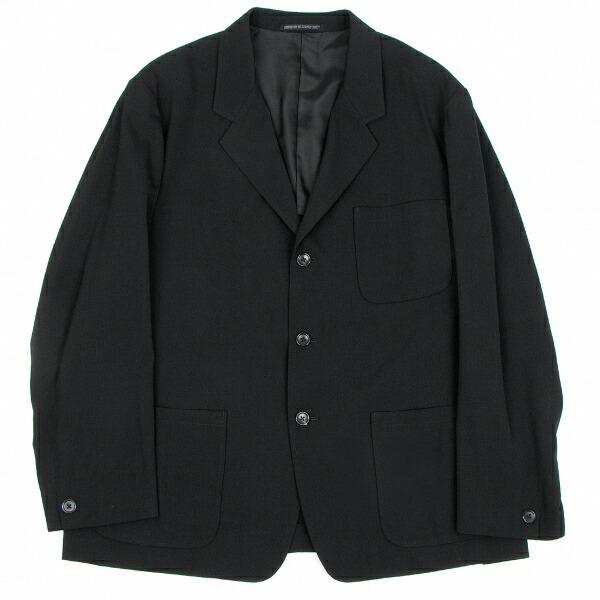 ヨウジヤマモト プールオムYohji Yamamoto POUR HOMME ウールギャバ3Bジャケット 黒M