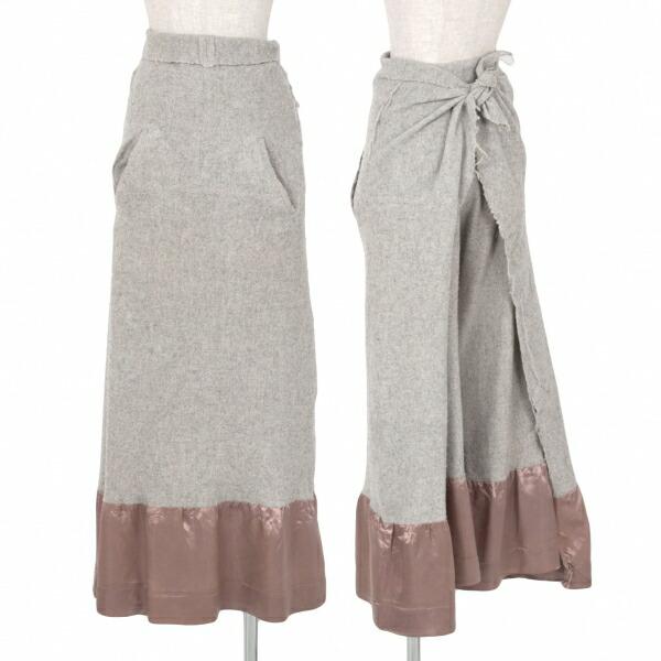 コムデギャルソンCOMME des GARCONS 縮絨ウール裾切替ラップスカートパンツ グレーS