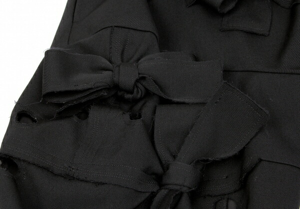 コムデギャルソンCOMME des GARCONS ウールギャバリボン装飾ボンディング穴あきパンツ 黒XS