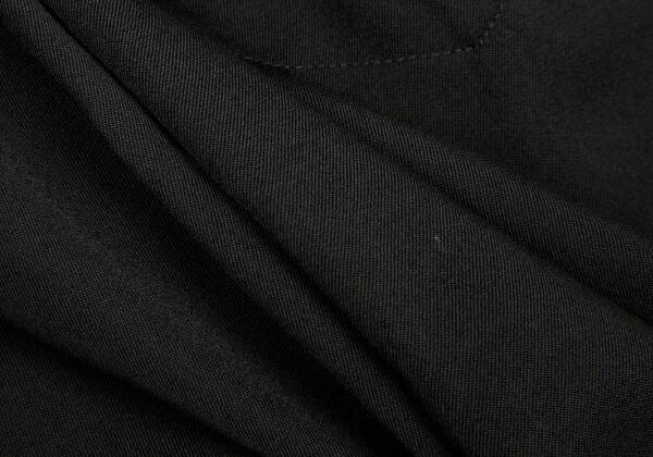 ヨウジヤマモト ファムYohji Yamamoto FEMME ウールギャバベルテッド裁ち切りデザインパンツ 黒2