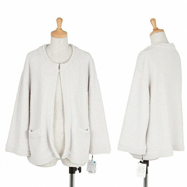 ヨシエイナバYoshie inaba カシミヤ混パール装飾ノーカラージャケット 淡グレー11