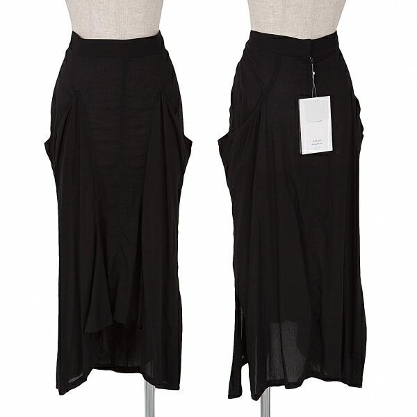 新品!ヨウジヤマモト ファム yohji yamamoto femme レーヨンデザインスカート 黒2