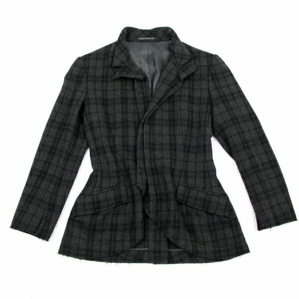 ヨウジヤマモト ノアールYohji Yamamoto NOIR ウールナイロン裁ち切り変形デザインジャケット チャコールグレー1