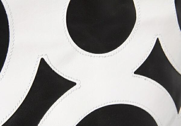 コムデギャルソンCOMME des GARCONS 青山限定サークルパッチレザートートバッグ 黒白