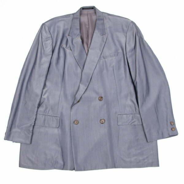 ヨウジヤマモト プールオム Yohji Yamamoto POUR HOMME レーヨンサテンピークドラペルダブルジャケット 薄紫S