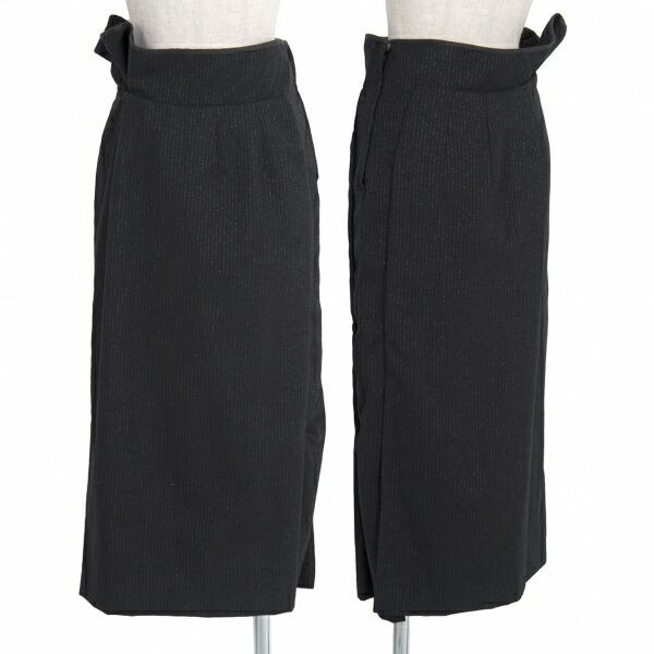 コムデギャルソンCOMME des GARCONS ウールポリラメストライプスカート 黒シルバーS