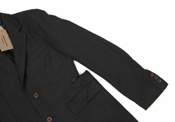 新品!コムデギャルソンオムプリュスCOMME des GARCONS HOMME PLUS 製品染めポリスナップボタンロングジャケット 黒XS
