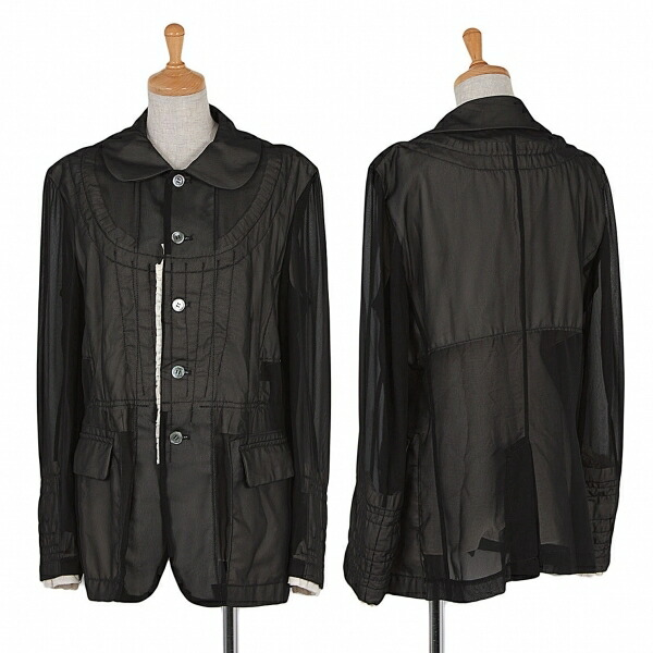 コムデギャルソンCOMME des GARCONS シースルーシフォンレイヤードジャケット 黒生成りL