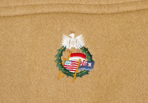 パパスPapas 国旗刺繍ウールナイロンダッフルコート キャメルLL