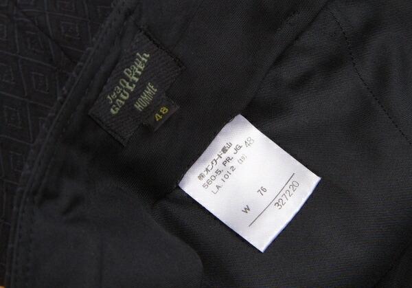 ジャンポールゴルチエ オム Jean Paul GAULTIER HOMME ウールレーヨン柄織りセットアップスーツ 黒48