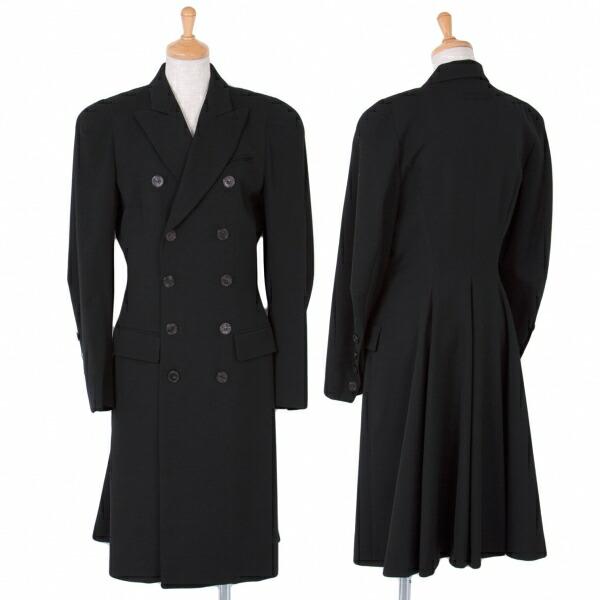 ジャンポールゴルチエファムJean Paul GAULTIER FEMME ウールギャバ裾ドレープダブルコート 黒40