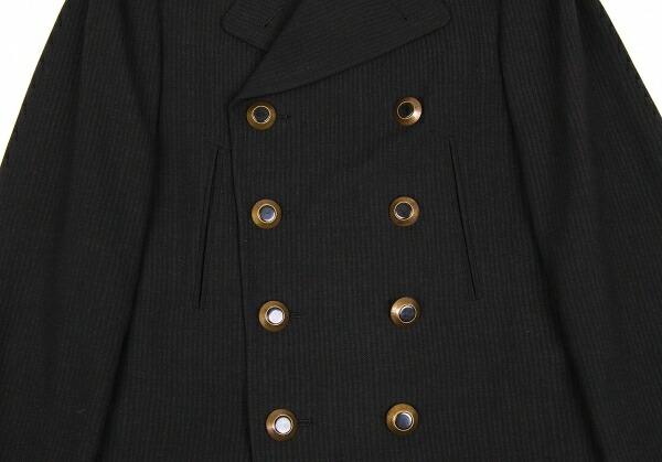 ジャンポールゴルチエファムJean Paul GAULTIER FEMME ストライプセミロングピーコート 黒40