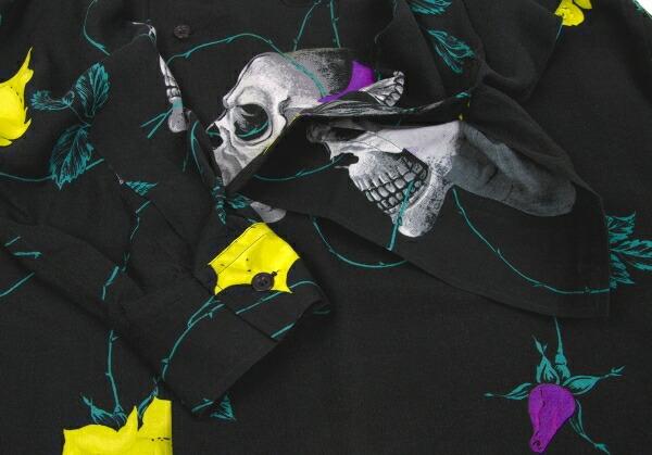 ヨウジヤマモト プールオム Yohji Yamamoto POUR HOMME 高島屋オープン記念レーヨンスカルローズプリントシャツ 黒黄紫他3