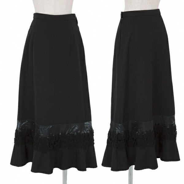 トリコ コムデギャルソンtricot COMME des GARCONS 製品染め裾装飾ウールギャバスカート 黒M