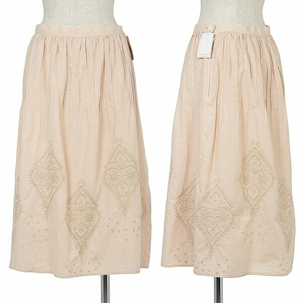 マドモアゼルノンノンMademoiselle NON NO edition コットンリネン刺繍デザインスカート サーモンピンクL