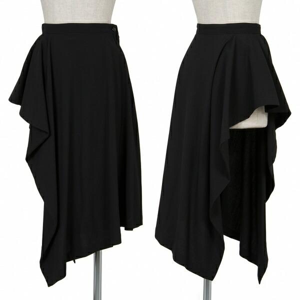 トリコ コムデギャルソンtricot COMME des GARCONS ウールドレープデザインカバースカート 黒M