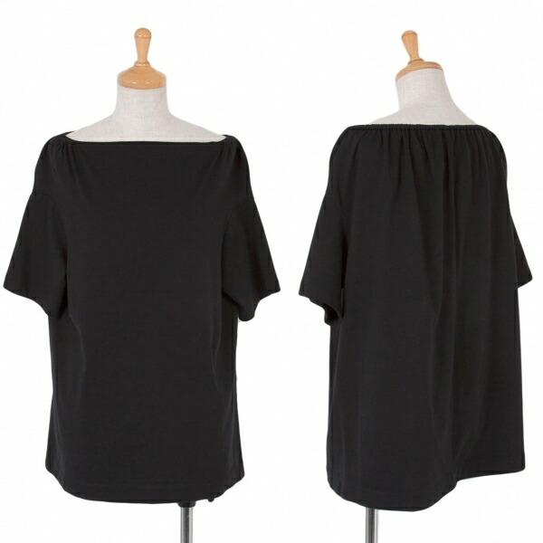 ヨウジヤマモトファムYohji Yamamoto FEMME ネックギャザーTシャツ 黒3