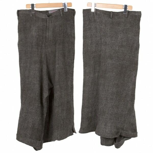 ヨウジヤマモトノアールYohji Yamamoto NOIR チェックむら染めウールパンツ風スカート 黒ベージュ1