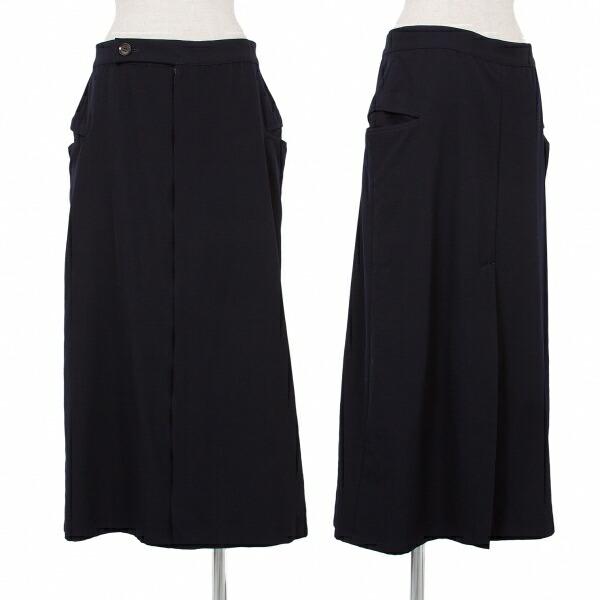 ヨウジヤマモト ノアールYohji Yamamoto NOIR ウールギャバポケットデザインスカート 紺1