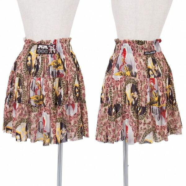 ジャンポールゴルチエJean Paul GAULTIER PARIS 総柄プリントギャザースカート マルチ40