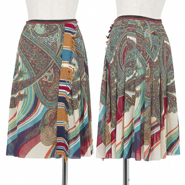 ジャンポールゴルチエファムJean Paul GAULTIER FEMME パワーネットペイズリープリントラップデザインスカート マルチ40