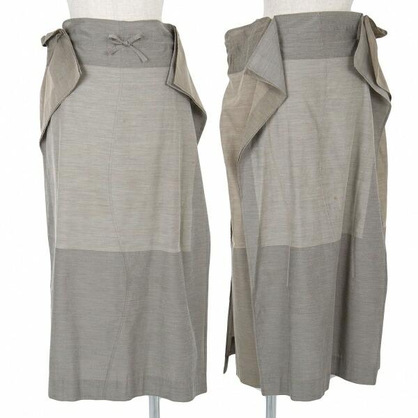 イッセイミヤケISSEY MIYAKE A.POC INSIDE コットンポリ縫い合わせスカート モカ2 モカ2