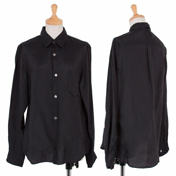 ローブデシャンブレ コムデギャルソンrobe de chambre COMME des GACONS キュプラベーシックシャツ 黒S位