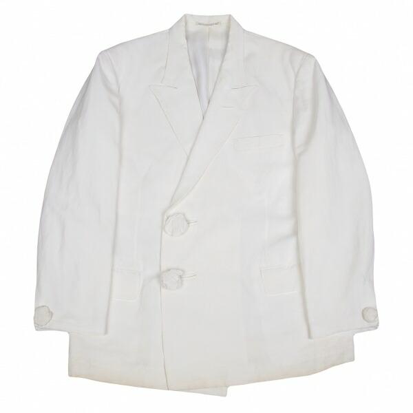 ヨウジヤマモトプールオムYohji Yamamoto POUR HOMME リネンレーヨン包みボタン2Bダブルジャケット 白S