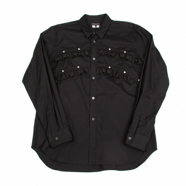 新品!コムデギャルソンオムプリュスCOMME des GARCONS HOMME PLUS コットンフリル付きカシメシャツ 黒M