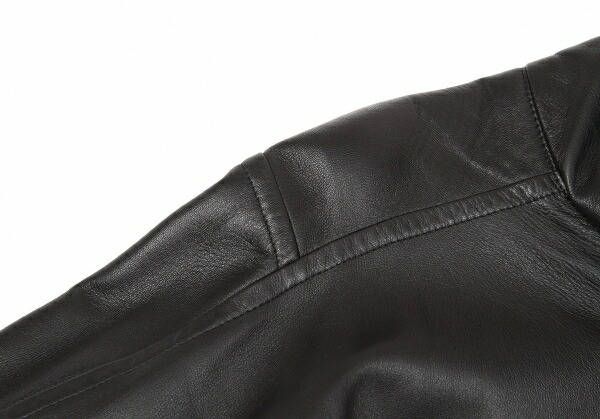 ヨウジヤマモト ファムYohji Yamamoto FEMME ハイネック脇開きデザインラムレザージャケット 黒1