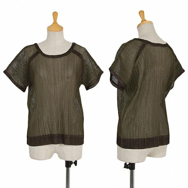 プリーツプリーズPLEATS PLEASE ネットラグラン半袖Tシャツ カーキ4