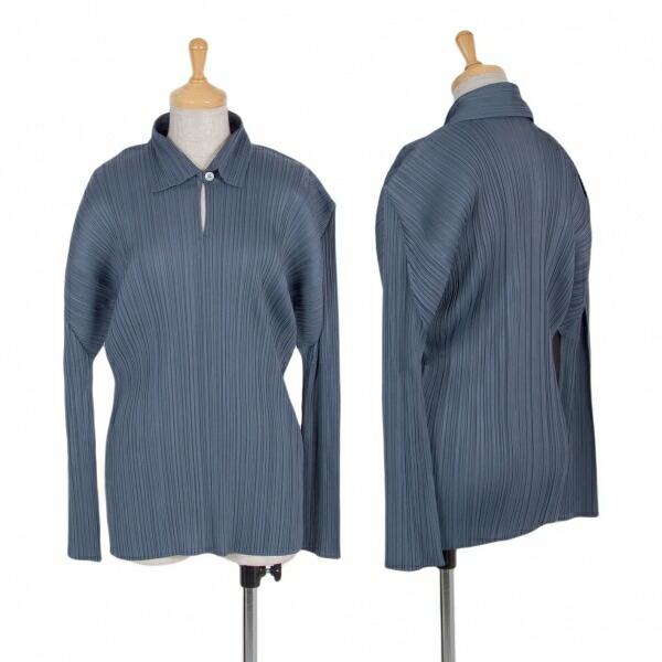 プリーツプリーズPLEATS PLEASE プリーツ長袖ポロシャツ ブルーグレー3