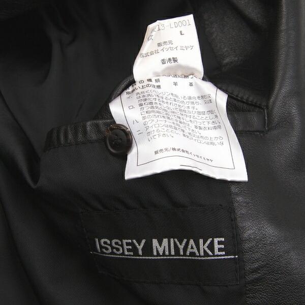 イッセイミヤケメンISSEY MIYAKE MEN レザージップラペルハーフコート 黒L