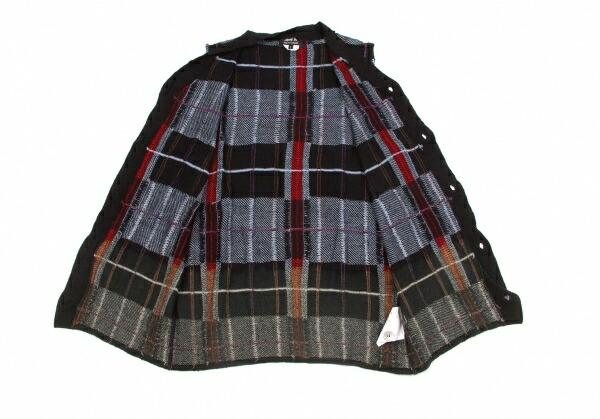 コムデギャルソンオムドゥCOMME des GARCONS HOMME DEUX むら加工チェック織りニットベスト 黒水色赤他L