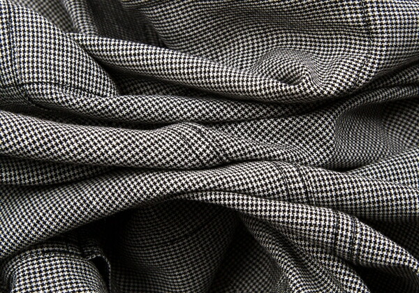 コムデギャルソンオムドゥCOMME des GARCONS HOMME DEUX ウールリネンハウンドトゥースジャケット 黒白L