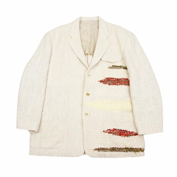ヨウジヤマモトプールオムYohji Yamamoto POUR HOMME シルクデザイン織りジャケット 生成りエンジ緑茶他M